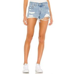 Levi's Distressed Button Fly Denim Shorts